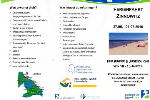 Ferienfahrt Zinnowitz Flyer Seite 1